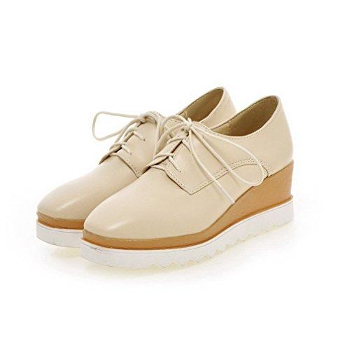AllhqFashion Damen Schnüren Quadratisch Zehe Mittler Absatz Rein Pumps Schuhe Aprikosen Farbe