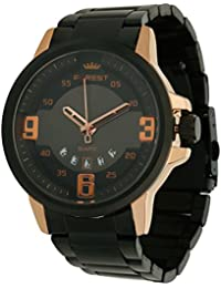 Forest Black Dial Date Series Black Metal Strap Analogue Wrist Watch For Mens & Boys (FST-00012)