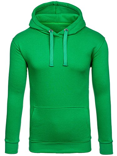 BOLF Herren Kapuzenpullover Sweatshirt Hoodie Basic Sport Style Mix 1A1 Grün_2009