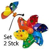 Fahrradwindmühle - Moulin VELO 12cm - 2er Set - Windrad Ø12cm - Windspiel für alle Fahrräder, Roller, Dreiräder, Laufräder, Kinderwagen und Buggys (regenbogen)