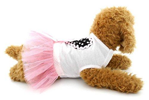 selmai Prinzessin Kleine Hund Kleid Dots Herz Hund Tutu Kleid abgestuftes Chihuahua Sommer Kleidung Hund T-Shirts für Puppy Katze Purple Rain Outfit