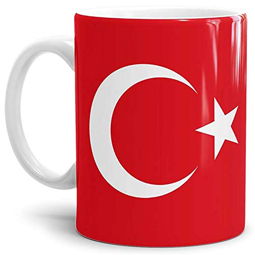 Tassendruck Flaggen-Tasse Tuerkei - Kaffeetasse/Mug/Cup - Qualität Made in Germany