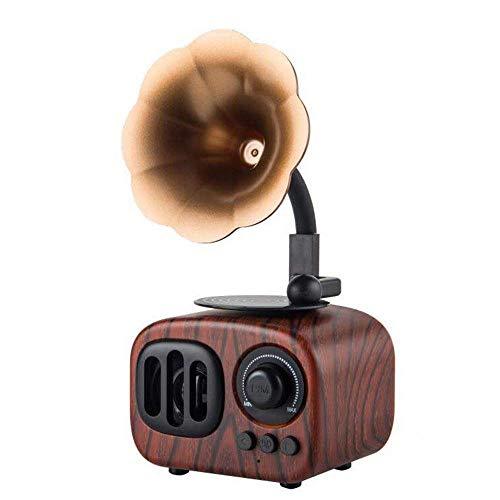 LSJ Holz Bluetooth-Lautsprecher, Retro drahtlose Lautsprecher Portable mit HD Audio und Enhanced Bass, eingebaute wiederaufladbare Batterie, TF-Karten-Slot for Home Office (Color : B)