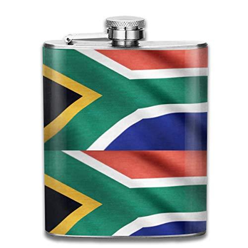 Südafrika Land Flagge Muster Premium 304 Edelstahl Flachmann Benutzerdefinierte Flasche Großes Geschenk, 7 Oz