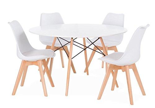 Noorsk Design Conjunto de Mesa Karelia2 + 4 sillas Wooden Blancas