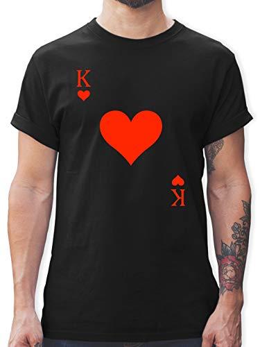 Der Kostüm Monarch - Karneval & Fasching - King Kartenspiel Karneval Kostüm - XL - Schwarz - L190 - Herren T-Shirt und Männer Tshirt