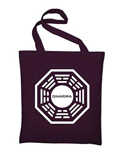 Lost Dharma Initiative Logo Jutebeutel, Beutel, Stoffbeutel, Baumwolltasche, red Bordeaux