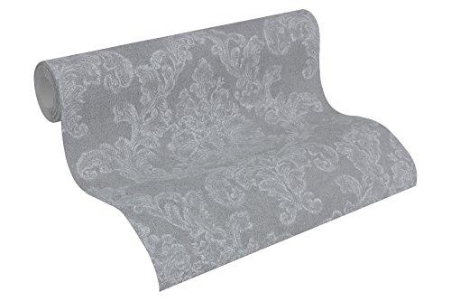 A.S. Création Vliestapete Elegance Tapete neo barock 10,05 m x 0,53 m grau weiß Made in Germany 305184 30518-4