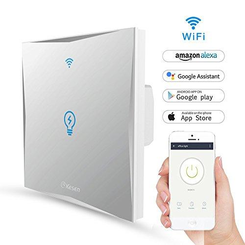 Wlan Alexa Lichtschalter, FEYG Wifi Smart Lichtschalter arbeitet mit Amazon Alexa und Google Home, gehärtetes Glas Touchscreen-schalter, Timing-Funktion, Überlastungsschutz, kein Hub erforderl