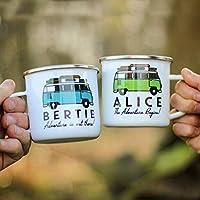 Mug Personnalisé avec Votre Nom et Texte au Choix - Mug Camping-Car - Style Rétro - Cadeau Anniversaire Pot de Départ ou Retraire