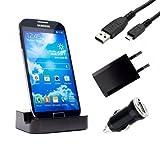 mobilefox® 4in1 Ladestation Dockingstation + Micro-USB Ladekabel + Netzteil + KFZ-Ladeadapter SET Samsung Galaxy S4 GT-I9505/GT-I9500 Schwarz