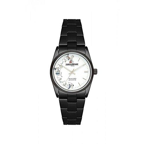 Orologio unisex Zadig & Voltaire a Quarzo Quadrante Bianco 36mm e cinturino nero in acciaio inox zvf415