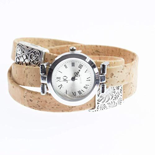 Moderne Armband-Uhr für Damen mit echtem Kork/alle Längen nach Maß/Wickel-Uhr