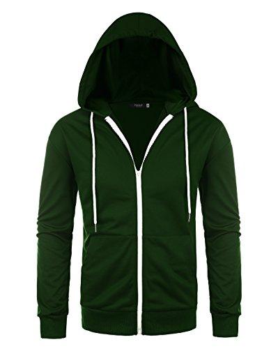 Hasuit Herren Jacke Sweatjacke Sweater Kapuzenjacke Zip Hoodie Zipper Männer Kapuze Baumwolle Einfarbig Reißverschluss (Grüner Hoodie Jacke)