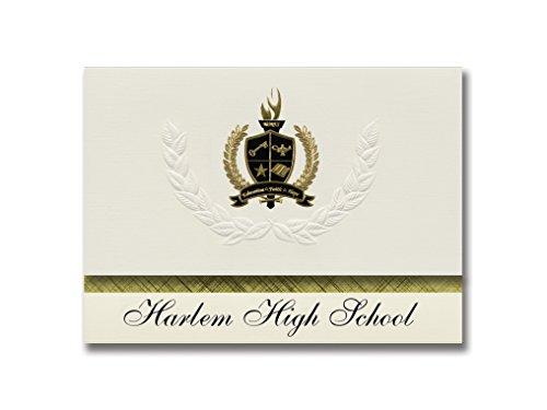 Signature Announcements Harlem High School (Machesney Park, IL) Schulabschluss-Ankündigungen, Präsidential-Stil, Grundpaket mit 25 goldfarbenen und schwarzen metallischen Folienversiegelungen