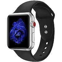 Für Apple Watch Armband 38mm, Straper Qualität Weich Silikon Sport Ersatzarmband Uhrenarmbänder für iWatch Series 4 Series 3 Series 2 Series 1 Schwarz