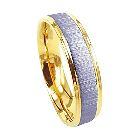 Everstone Men Titanium Ring Two Tone Gold and Silver Matte Wedding Band Anniversary Engagement Ring Valentine's Day Gift 6mm Size