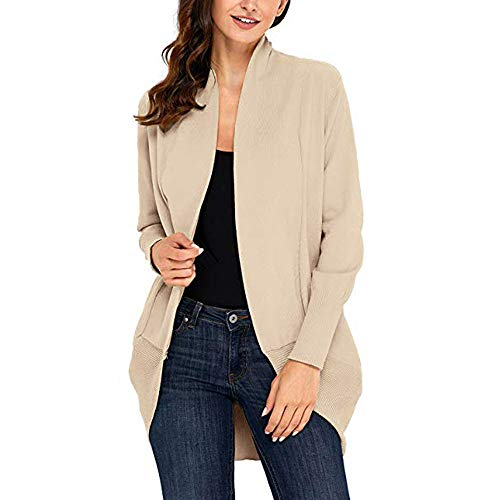 Fuibo Damen Strickjacke Mantel, Damen Öffnen Sie Front Fly Away Cardigan Sweater Langarm Plus lose Drape Casual Langarm Revers Neck Loose Coat Cardigan (S, Khaki) -