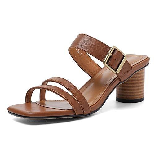 RONGLINGXING 2019 Mode Frauen Casual Slipper Mid Heel Sandalen Chunky Pantoletten 5cm / 1,96