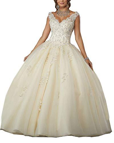 Carnivalprom Damen V-Ausschnitt Quinceanera Kleider Mit Spitze Abendkleider Lang Hochzeitskleider Elegant Ballkleid(Champagne,42) - Quinceanera Kleider Kleider