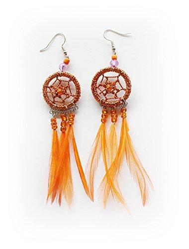 28mm Perle (Indianer Ohrschmuck Paar GLITZER Traumfänger ORANGE 28mm. Ring Ohrringe Ohrhänger Mini-Federn Perlen Dreamcatcher)