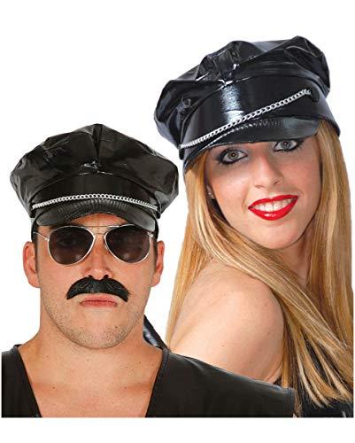 Horror-Shop Schwarze Biker Schirmmütze für Fasching & Halloween