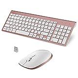 FENIFOX Ergonomische Tastatur, Wireless QWERTZ Tastatur und Maus Set Kabellos 2,4 GHz Funk mit USB für Computer Pc Laptop (Weiß und Rose Gold)