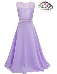 MODETREND Niñas Vestidos Princesa Tutu Niña de las Lace Niños Gasa Vestido Largo para Ceremonia Novia Boda Fiesta Cumpleaños