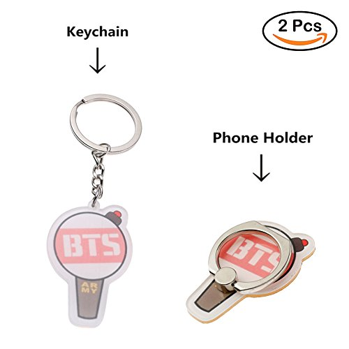 Loheag Clinor BTS Keychain & BTS Handyhalter Ring Kit, BTS Band Members Fan Schlüsselbund Schlüsselanhänger Anhänger Ornament und Handy Fingerhalter Halter Halterung, Beste Geschenk für The Army -