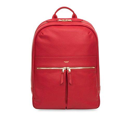 Rucksack Verarbeitetes Leder (Knomo 120-401-CHL Mayfair Luxe Beaux, edler Damen-Rucksack aus Leder mit einer Vielzahl von Fächern und Einschubtasche für 14 Zoll Notebooks | Chili)