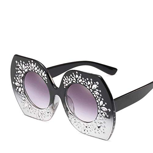 Yuany Herren Sonnenbrillen Frauen Persönlichkeit Europa und die Vereinigten Staaten großen Rahmen Sonnenbrillen Mode Punkt Farbe gerahmte Sonnenbrille Dame 's multilaterale unregelmäßige Brille