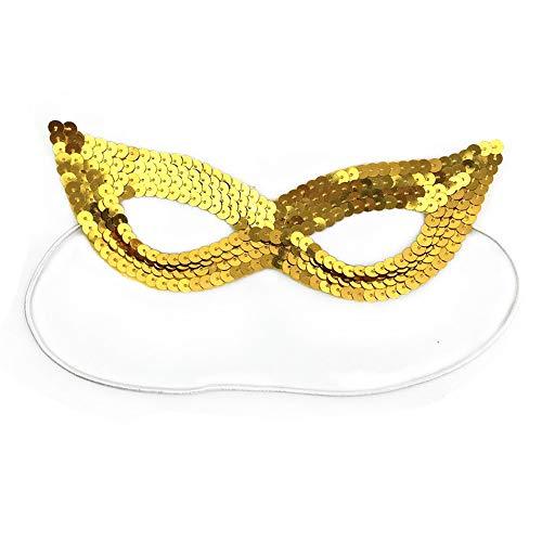 ILYMJ Halloween Halbe Gesichtsmaske Theater Phantom Maske Maske Prom Maske Pailletten Augenmaske, Gold Perle Maske Masken