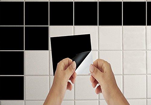 Lorcoo Fliesen Sticker Aufkleber für Badezimmer Küche u Bad Wanddeko 15 x 15 cm Schwarz 50 Stück