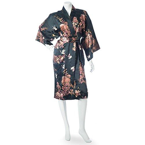japanische schwarz Kimono Kranich Chrysanthemun druck kurze Robe (Authentische Kimono Japanische)