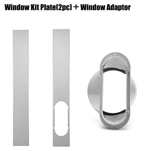 Ridecle 2 Stücke Mobile Klimaanlage Einstellbare Fensterdichtplatte + 15 cm Flachmundschnittstelle für Tragbare Klimaanlage AU