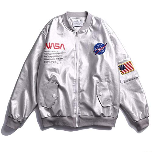 Sweatshirt Europa Und Amerika NASA Joint PU Leder Stickjacke MA1 Fliegerjacke Baseballuniform Grey-XXL Leder Jumper