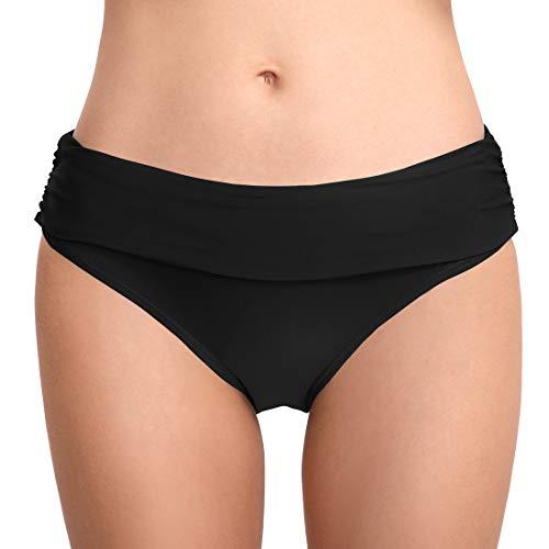 FEOYA Damen Faltig Bikinislip Slip Badeshorts Badeslip Bottom Unterteil Panty Höschen Hipster Brazilian Kurze Hose Rüsche Design Schwarz S -