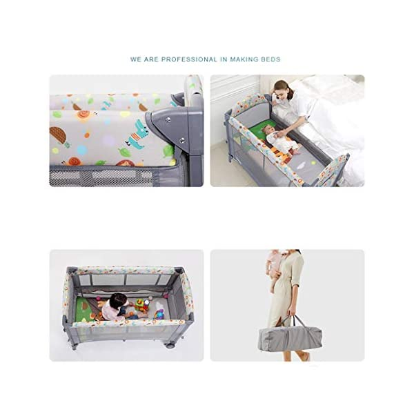 Travel Crib Cots Baby Nest Pod Bassinet Multifunctional Crib Travel Cots for Baby Sleeptight Portable Folding Carry with Mattress, Diaper Table, Mosquito Net, Toy Stand Grey and Blue (Color : A) OZYN Travel cots 【2-IN-1 BABY TRAVEL COT】There are two layers on this baby travel bed, the top layer is suitable for feeding and resting, and the bottom layer is ideal for crawling or learning to walk. You can use our infant cot in various kinds of places according to your different needs. 【MATERIAL】High quality oxford material, soft and comfortable, free of paint formaldehyde, wear-resistant, dirt-resistant, durable, preferably coir mattress, care for your baby's body and healthy growth 【SAFE CONSTRUCTION FOR BABY】You can find that the rail of this baby travel bed is high, and this design is better to ensure the safety of kids while playing. You are able to keep a close eye on your child all the time and do not need to stand up as you can focus on them by mesh side. 6