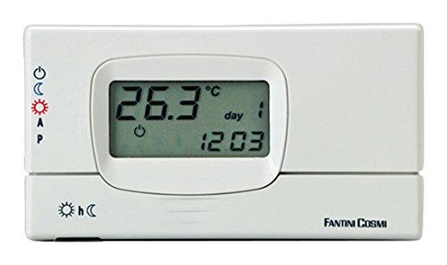 Fantini Cosmi C31 Cronotermostato da Parete con display a programmazione settimanale, a batterie, Bianco