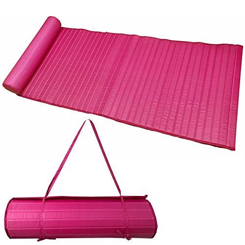 JEMIDI leicht gepolsterte (190g) Strandmatte Schwimmbadmatte 58cm x 180cm wahlweise mit Kissen (Pink) -