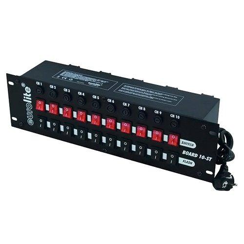 Eurolite Board 10-ST 10x Schutzkontakt | Panel, 10 Schalter (10 x Flash), getrenntes Schalten (10 Schutzkontaktdosen)