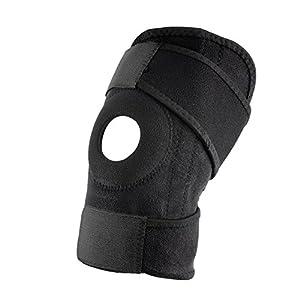SEGRJ Verstellbare Elastische Brems Hülse, Patella-Stabilisator-Protektor für Running Jogging, Basketball, Outdoor-Sport-Übung-Schwarz