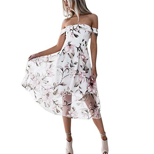 Blumendruck Kleid Damen, DoraMe Frauen Sommer Schulter Maxikleid Frühling Kurze ärmel Lange Strand Kleid Mode Party Kleid (Rosa, Asien Größe M)