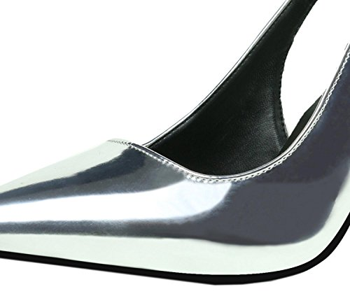HJMTYR Stylish Simplicity Women's Shoes Bouche superficielle à talons hauts One Word Band Hollow Single Shoes Silver