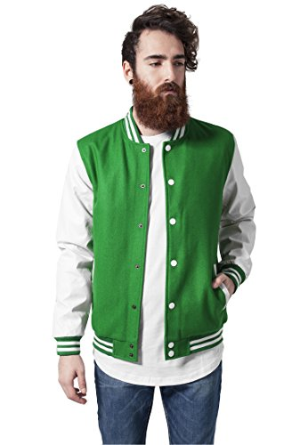 Urban Classics TB201 Herren Jacke Bekleidung Oldschool College Jacket White/Green
