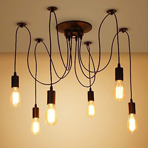 6 luces 1.8M araña industrial Luz loft Araña cableada