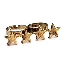 Stern Doppelring Gold Bronze - verstellbare Größe - Retro Ring Vier Sterne