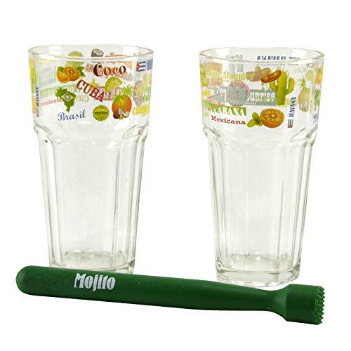 2er Set Mojito Gläser inkl. Stößel Cocktail-Glas Gläser Highball-Glas Longdrink Highball-gläser-set
