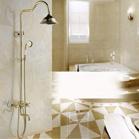 Tub Filler-handshower (Luxury Exposed Shower Faucet Dual Handle Adjust Height 8