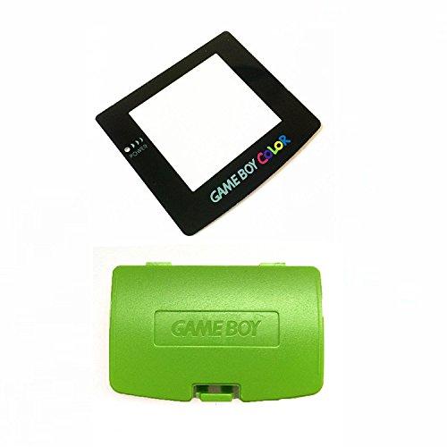 Grün Akku Schutzhülle & Display Objektiv für Game Boy Color GBC System Ersatz (mit Rückseite selbstklebend)